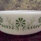 "Vintage GLASBAKE casserole dish 8X2.5"" round green daisies flowers handles Used"