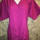 LANDAU 8232 solid pink v-neck scrubs top jacket dental snap front vet uniform L