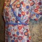 Mock wrap back tie gathered  red white blue scrubs top nurse medical July 4 M-L