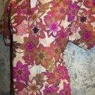 Khaki fushia pink abstract floral v-neck scrubs top dental medical nurse vet XS
