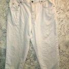 EDDIE BAUER beige 100% cotton denim jeans cropped peddle pushers 14 high waist