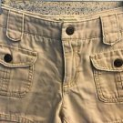 AMERICAN EAGLE khaki casual junior 0 short shorts 100% cotton back slit pockets