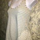 Dressy stripe racerback flare hem asymmetrical stretch tank top gray stripe S