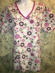 Gray fushia hearts flowers scrubs top dental medical nurse M v-neck 3 pockets