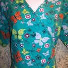 Teal cheerl butterfly wrap look scrub top nurse dental medical women M back tie