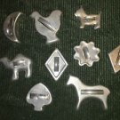 9 vintage metal silver CHRISTmas cookie cutters animals shapes aluminum handle