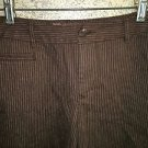 ST JOHN'S BAY Stretch pin striped brown shorts button flap pockets modest length