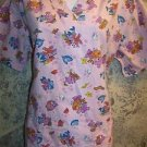 Purple teddy bear fishing fish pullover scrubs top dental medical nurse vet XS