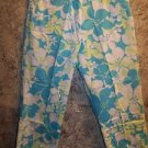 Blue tropical flower peddle pusher pants high waist stretch tapered leg 6 beach