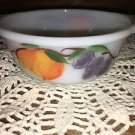 Vintage FIREKING Anchor Hocking small handled bowl ovenware fruit peach grapes
