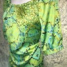 WORTHINGTON bright green abstract silky blouse modest crewneck pleated career L