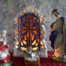 Large nativity creche hand painted glazed ceramic Jesus Mary Joseph musical EUC