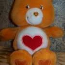 "Orange CARE BEAR heart 12"" plush stuffed animal toy teddy GUC 2002 collectible"