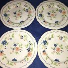 "4 vintage SEARS French Country Ironstone salad bread plates 7.5"" flowers scallop"
