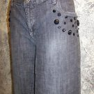METRO 7 charcoal mid-rise womens 14 boot cut stretch jeans embellished stretch