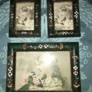 3 shabby chic Victorian flowers gold frame gold green 2x3 3.5x5 resin easel wall