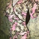 CHEROKEE 2915 flowers knit sides pullover scrubs top nurse medical vet S brown