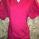 DICKIE'S hot pink 86706 scrubs top v-neck basic pullover medical nurse dental S
