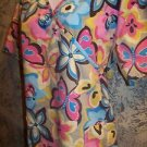 Khaki pink blue floral EXPO wrap look scrub top nurse dental medical vet women L