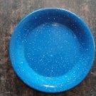 "Antique blue speckle graniteware enamelware splatter plate camping metal 8.5"""
