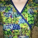 Mock wrap LANDAU FX scrubs top nurse medical dental vet 7/9 bright polka dots