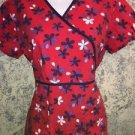 CHEROOKEE STUDIO 3815C red blue floral scrubs top back tie medical nurse vet XS