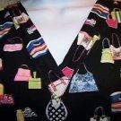 Purse handbag tote black v-neck scrubs uniform top dental medical nurse vet XS