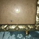 Vintage gold brass metal art deco embossed ball foot photo picture frame  5x7""