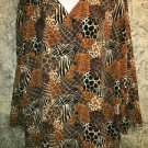 Animal print plus 20W silky v-neck button down tunic top blouse abstract artsy