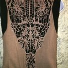 Lightweight crochet back flowing open front vest top brown S asymmetrical hem