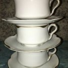 J & C LOUISE Bavaria white gold daub trim 3 antique tea coffee cups saucers GC