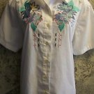 ALFRED DUNNER petite 14 P short sleeve button down blouse flower applique GUC