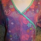 Purple pink retro 70s peace sign mock wrap scrubs top nurse medical dental vet S