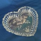 Heart shaped pressed etched glass bells candy nut dish decor wedding CHRISTmas