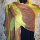 "32x74"" Indian dupatta scarf shawl wrap sheer chiffon fabric yellow brown stripe"