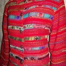 Red colorful artsy tapestry patch design festive jacket COLDWATER CREEK M India