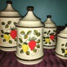 "8 piece ceramic canister set strawberry pattern 6"" to 10"" vintage retro kitchen"