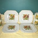 Vntg Japan 70s retro flowers square plates cups lunch set 8 piece orange yellow