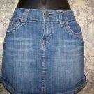Women junior 3/4 mini skirt denim jean slight distressed MAURICES Hydraulic used