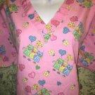 Pink kitty cat party balloons v-neck scrubs uniform top dental medical nurse L