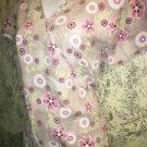 ABSOLUTE #109 khaki floral back tie mock wrap scrubs top nurse medical dental S