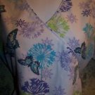 Mock wrap SB Scrubs top nurse medical dental vet XS lilac purple butterfly soft