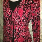 Faux layer open front red black small knit top abstract modest shimmer dressy JM