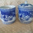 3 vintage oriental blue white print cups 1 lid butterfly pattern Chineese stamp
