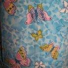 Blue butterfly mock wrap scrubs uniform top dental medical nurse vet uniform  XS