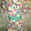 LIANA bright floral mock wrap crossover bust back tie scrub top nurse dental S