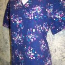 Wrap style vneck pullover SB Scrubs top nurse medical uniform women M dark blue