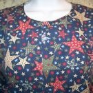Country patriotic star July 4 red blue scrub top jacket dental lab vet uniform M