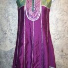 "OOAK kurti kutra purple green silver metallic dress flare hem no slits 32"" bust"