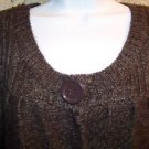 LINDA MATTHEW 1 button cardigan sweater M belled sleeves brown soft acrylic warm